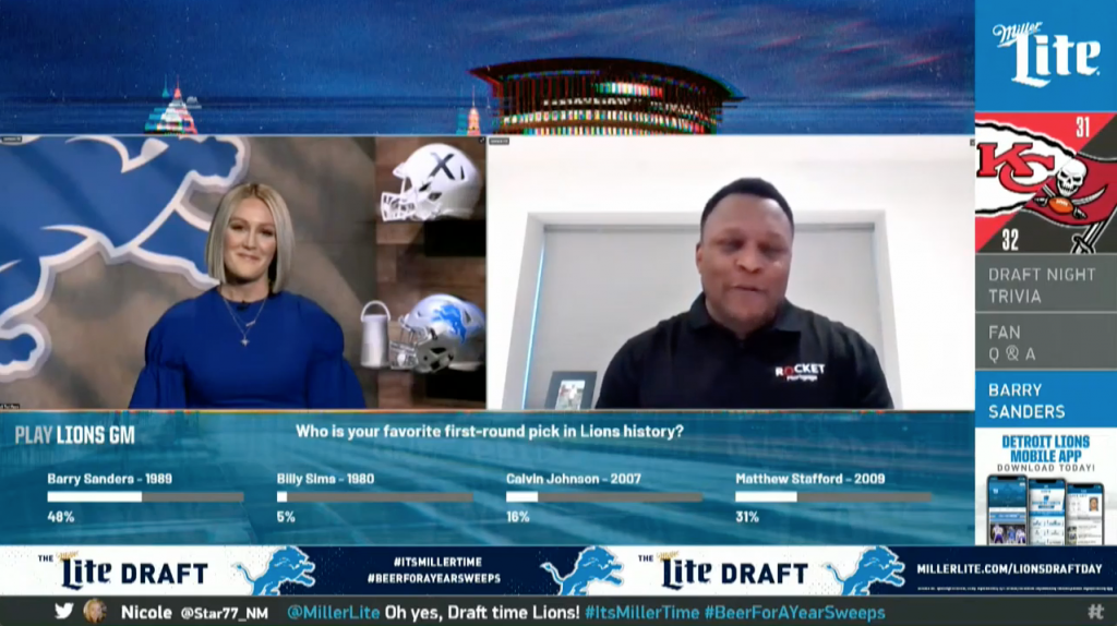 Lions L-Bar with live interactive poll results and promo graphics produced with Tagboard